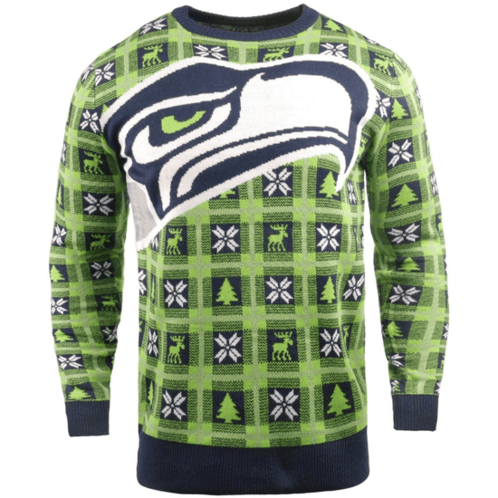 Forever Collectibles Seattle Seahawks Ugly Sweater Big Logo blau