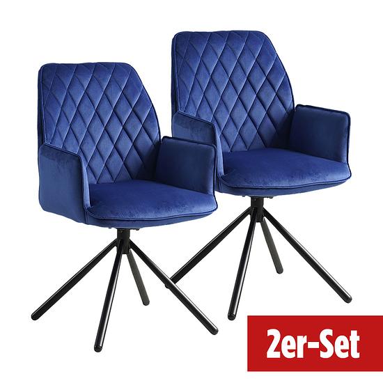 BREAZZ Stuhl Baratin Velvet 2er Set dunkelblau