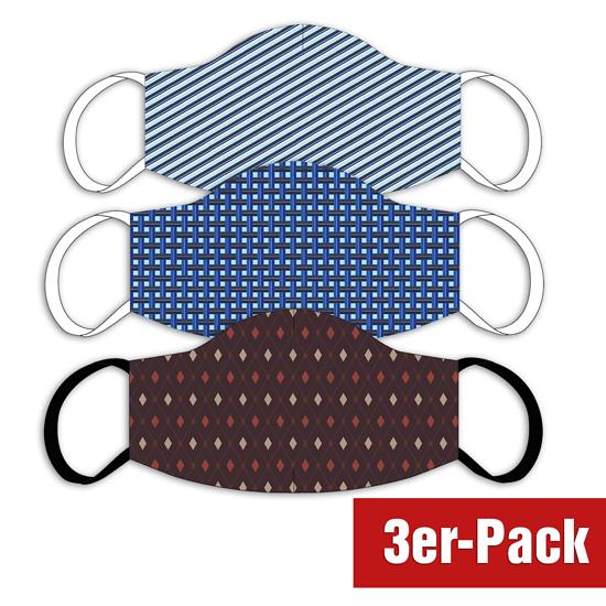 3er Set Mund-Nase Maske Männer Muster