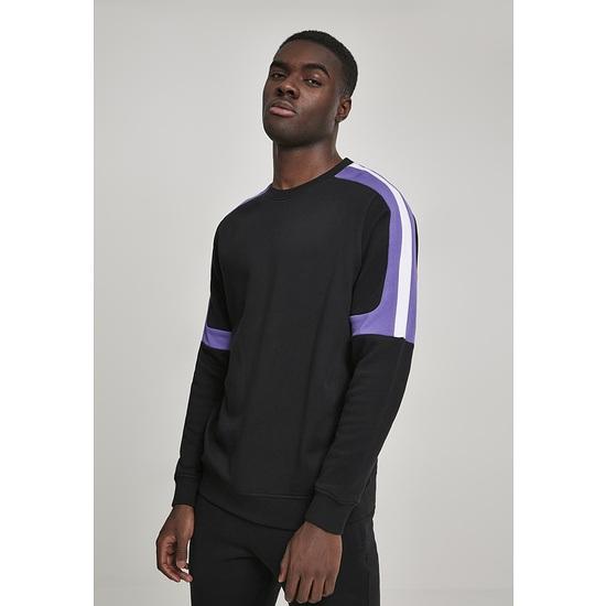 URBAN CLASSICS Sweatshirt Terry Panel schwarz/lila/weiß