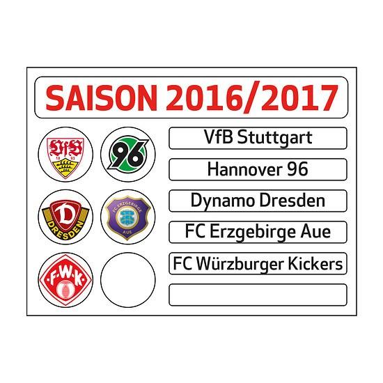 Update-Set für Magnettabelle 2. Bundesliga 2016/2017