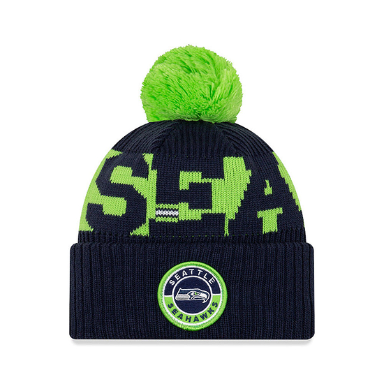 New Era Seattle Seahawks Beanie On Field Sport Knit blau