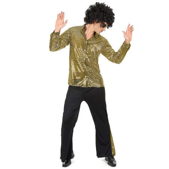 Karnevals- Kostüm Disco 70er Jahre gold/schwarz