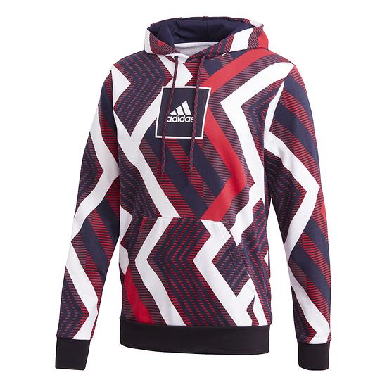 Adidas Hoodie M AOP Grau/Schwarz