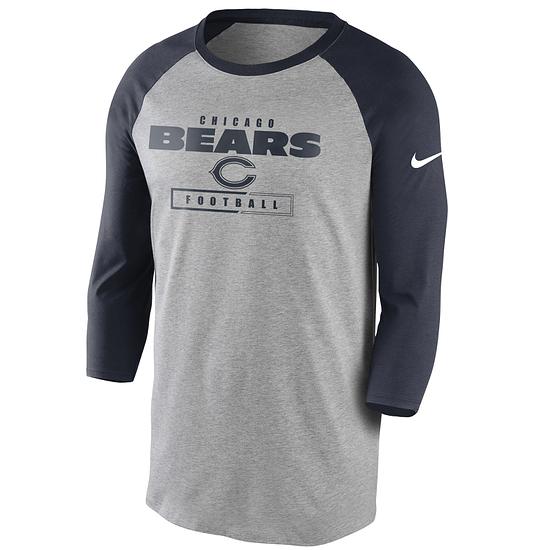 Nike Chicago Bears T-Shirt 3/4 Sleeve Wordmark Football grau/marine