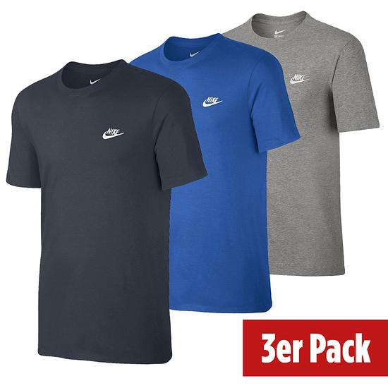 Nike T-Shirt CLUB Futura 3er Set Dunkelblau/Blau/Grau
