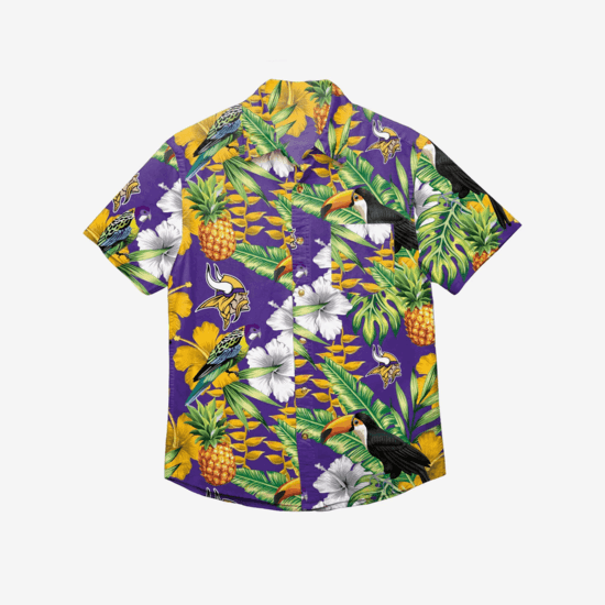 Forever Collectibles Minnesota Vikings Hemd Floral Button Up lila