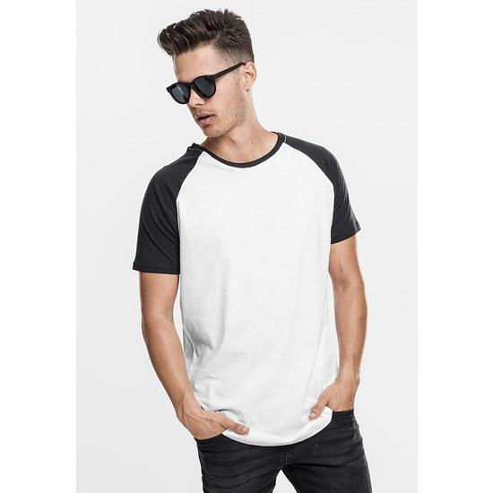 URBAN CLASSICS T-Shirt Shaped Raglan Long Weiß/Schwarz