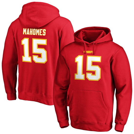 Fanatics Kansas City Chiefs Hoodie Iconic N&N Mahomes No 15 rot