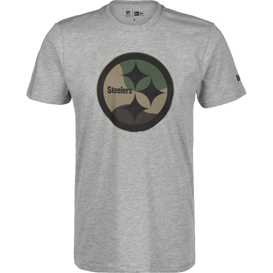 New Era Pittsburgh Steelers T-Shirt Camo Logo hellgrau