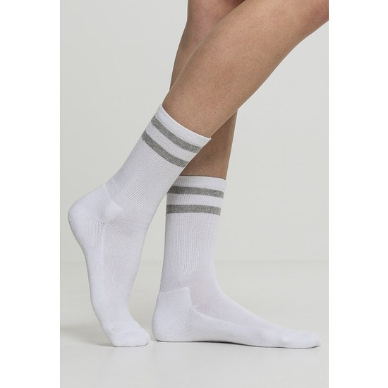 URBAN CLASSICS Socken 2-Stripe 2er-Pack weiß/hellgrau