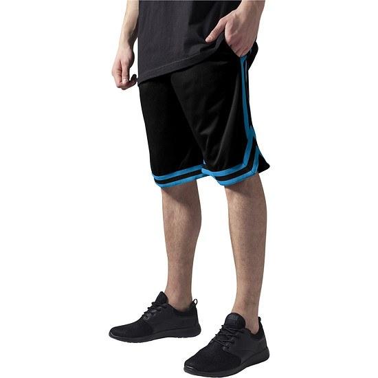 URBAN CLASSICS Shorts Stripes Mesh Schwarz/Türkis/Schwarz