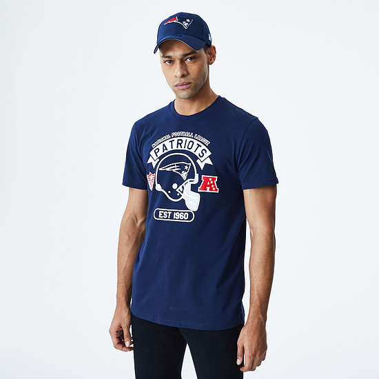 New Era New England Patriots T-Shirt Graphic Helmet blau