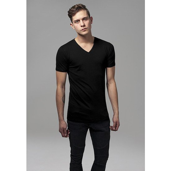 URBAN CLASSICS T-Shirt Basic V-Neck schwarz