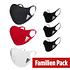 Adidas 6er Set Mund-Nase Maske Familie 1 Schwarz/Rot/Weiß