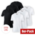 Cotton Butcher 6er Set T-Shirt Mix V-Neck 3+3 Schwarz/Weiß