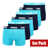Puma Boxershorts 6er Pack Retropants Blau/Türkis