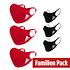 Adidas 6er Set Mund-Nase Maske Familie 2 Rot/Schwarz