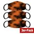 3er Set Mund-Nase Maske Erw. Orange/Schwarz (1)