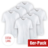 Cotton Butcher 6er Set T-Shirt Louisiana V-Neck Weiß