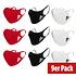 Adidas 9er Set Mund-Nase Maske Erwachsene Schwarz/Rot/Weiß